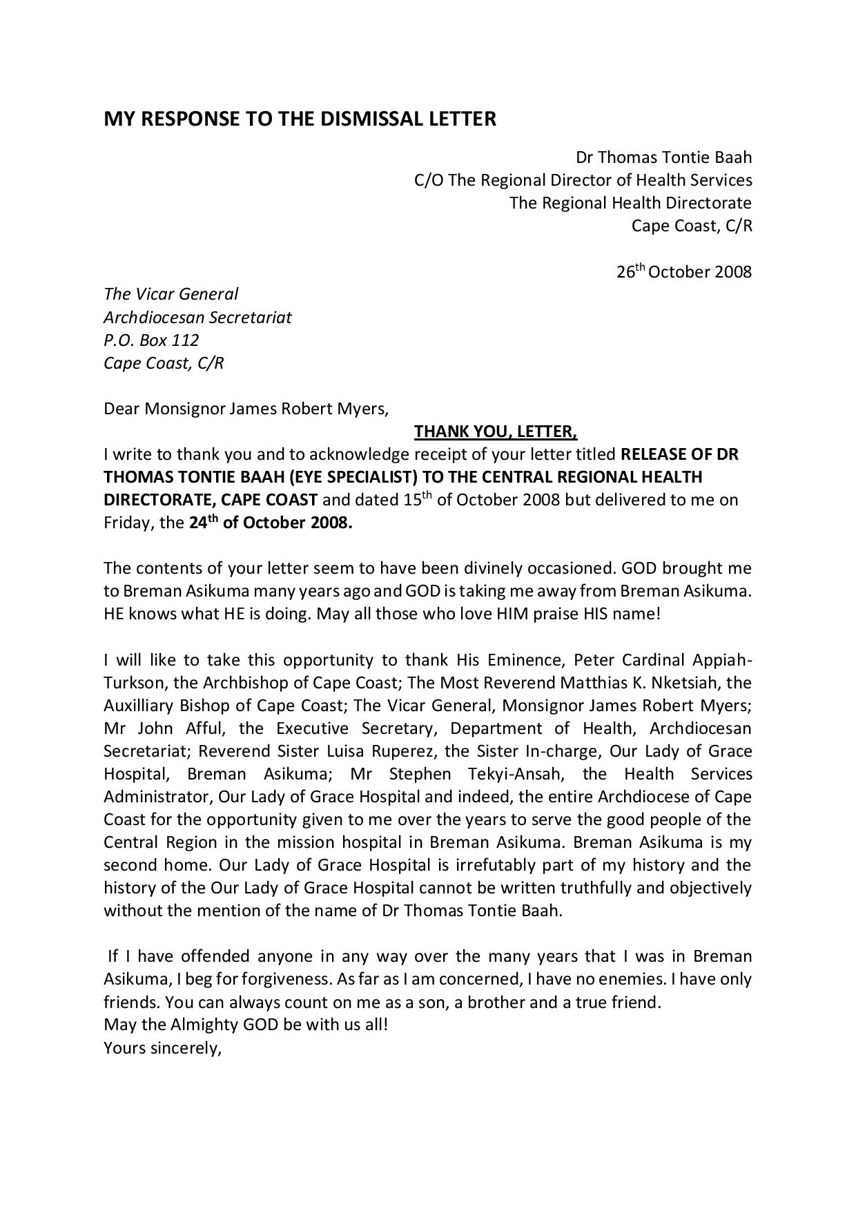 Dr. Thomas baah response to the dismissal letter